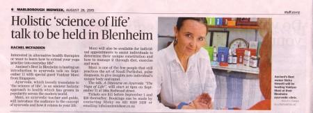 Talk in Blenheim Friday 11 September 2015